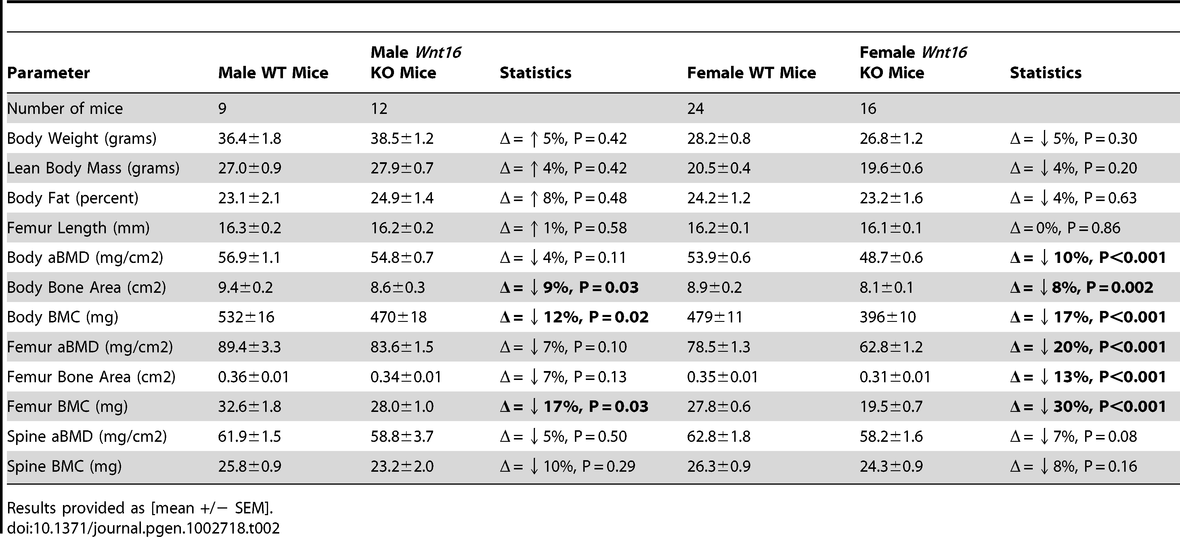 Summary statistics for densitometric properties of control (+/+) and <i>Wnt16</i> deficient (−/−) mice.