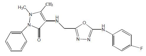 Struktura nejúčinnější látky ve sledované skupině derivátů 1,5-dimethyl-2-fenyl-4- ([5-(arylamino)-1,3,4,-oxadiazol-2-yl]methylamino)-1,2-dihydro- 3H-pyrazol-3-onu