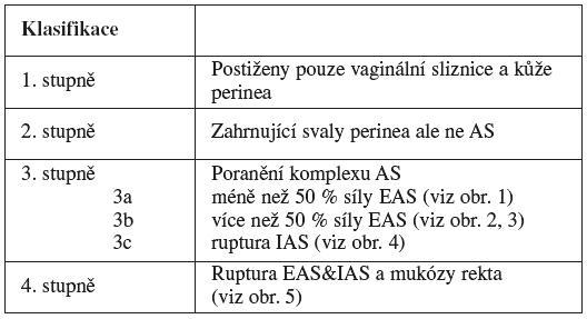 Klasifikace ruptur perinea podle RCOG Guideline No 29 [2]
