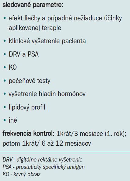 Kontroly andropauzálneho pacienta liečeného substitučnou liečbou androgénmi [7].