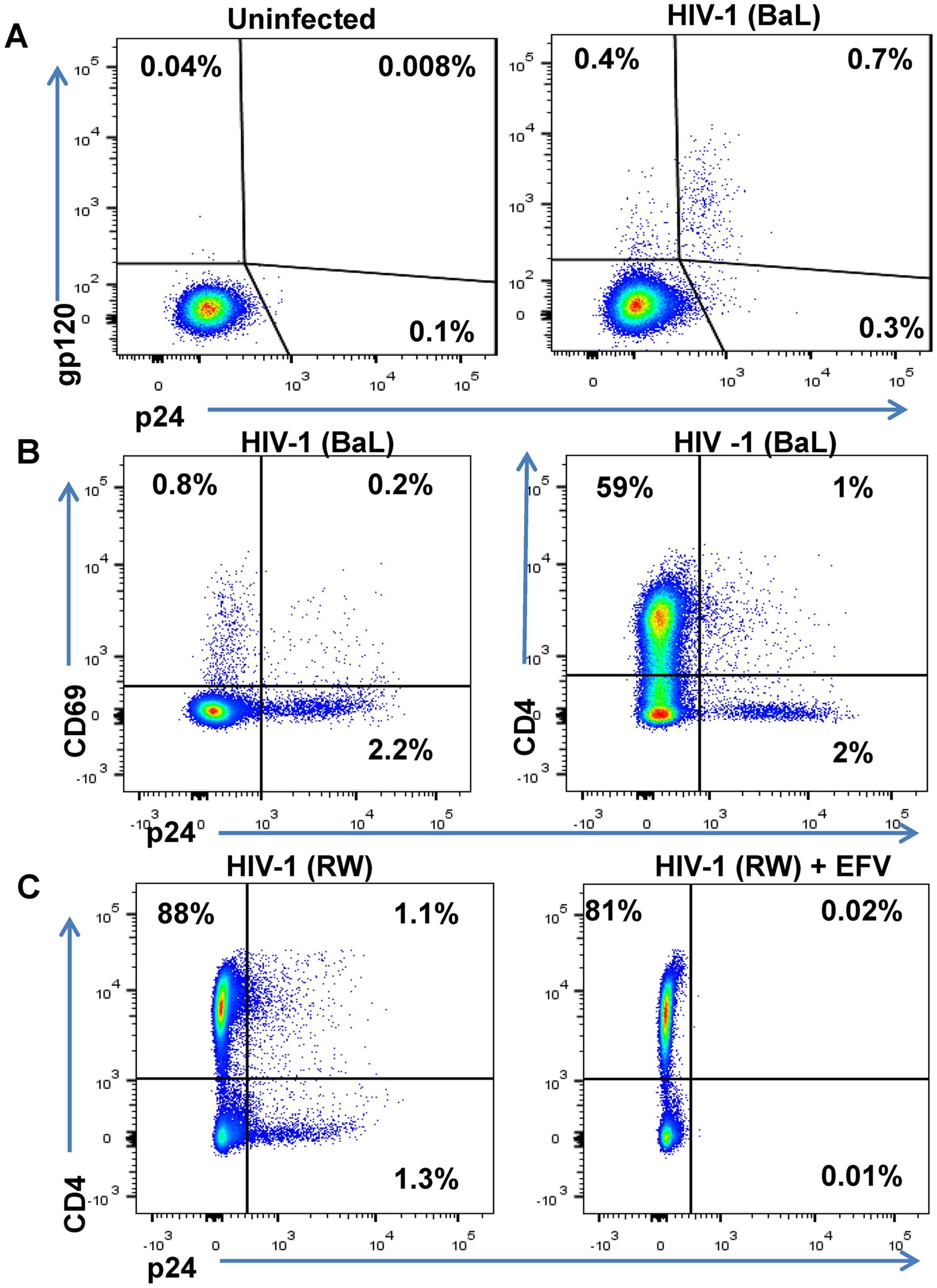 Phenotype of unstimulated primary CD4 T cells infected with HIV in vitro.