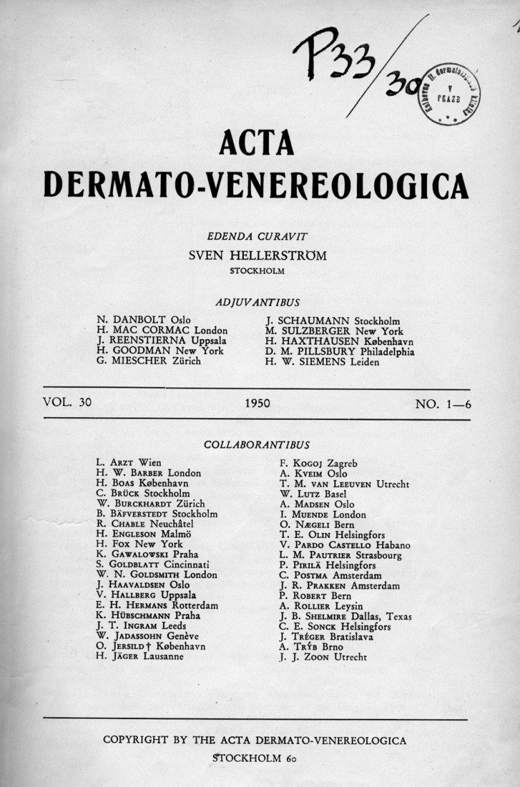 Acta dermatovenerologica.