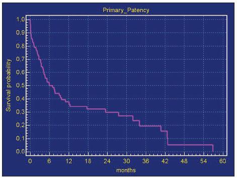 Sekundární průchodnost infrainguinálních tepenných rekonstrukci pomocí chladem konzervovanými žilních alloštěpů. Metoda Kaplan-Maier Graph 4. Secondary patency of infrainguinal arterial reconstructions using cold-preserved venous allografts. The Kaplan-Maier method
