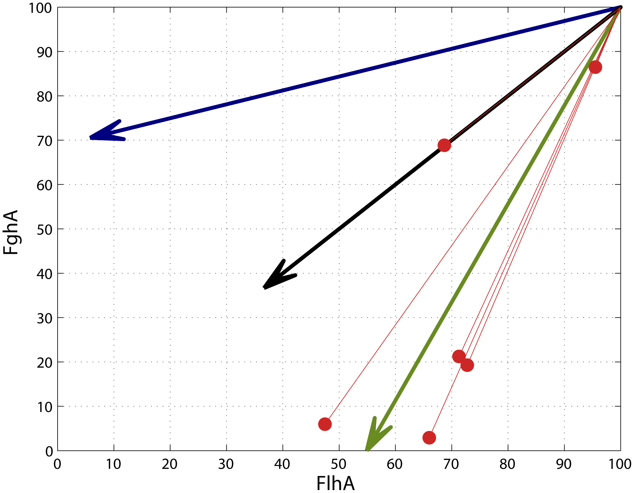 Adaptive mutations tended to move phenotypes toward the global optimum.