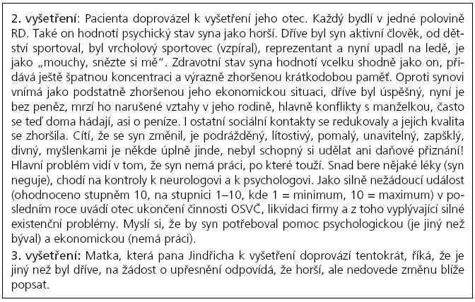 Informace o pacientovi od rodičů.