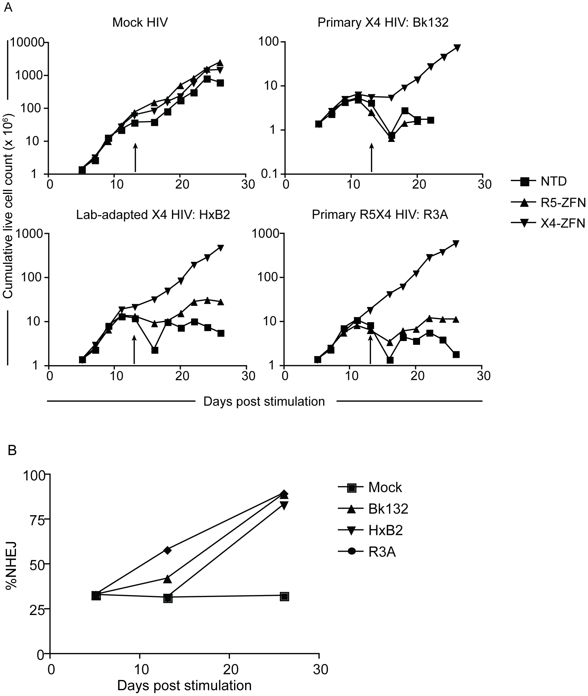 Treatment with X4-ZFNs is effective in <i>ccr5Δ32</i> homozgyous human CD4+ T cells.