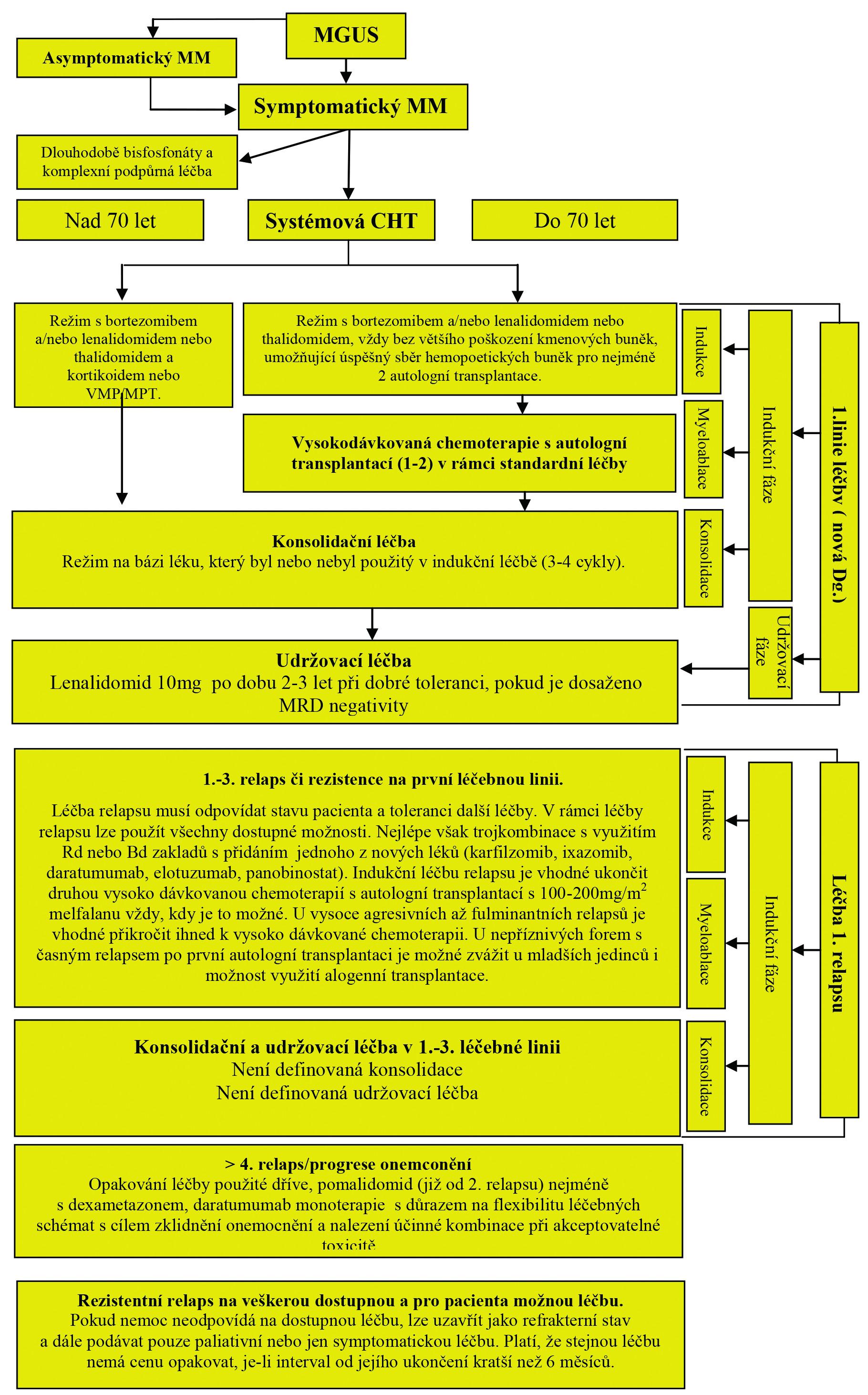 Obr. 6. 2 Základní algoritmus léčby mnohočetného myelomu od roku 2018
