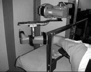 Fotografie probanda upnutého v bioreometru