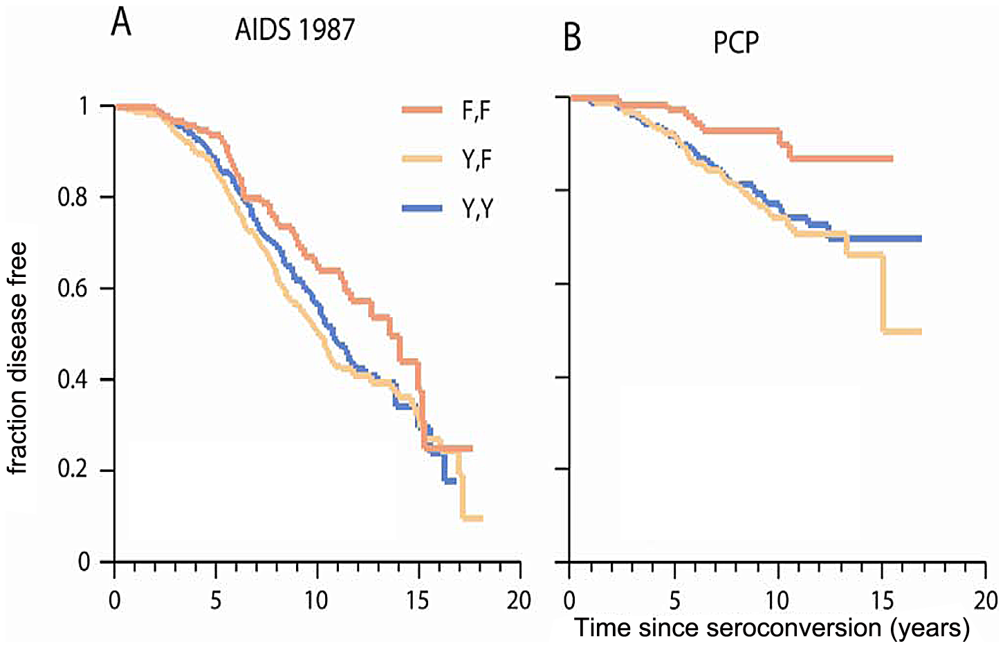 Genetic effect of <i>CCRL2-</i>167F on AIDS progression and PCP.