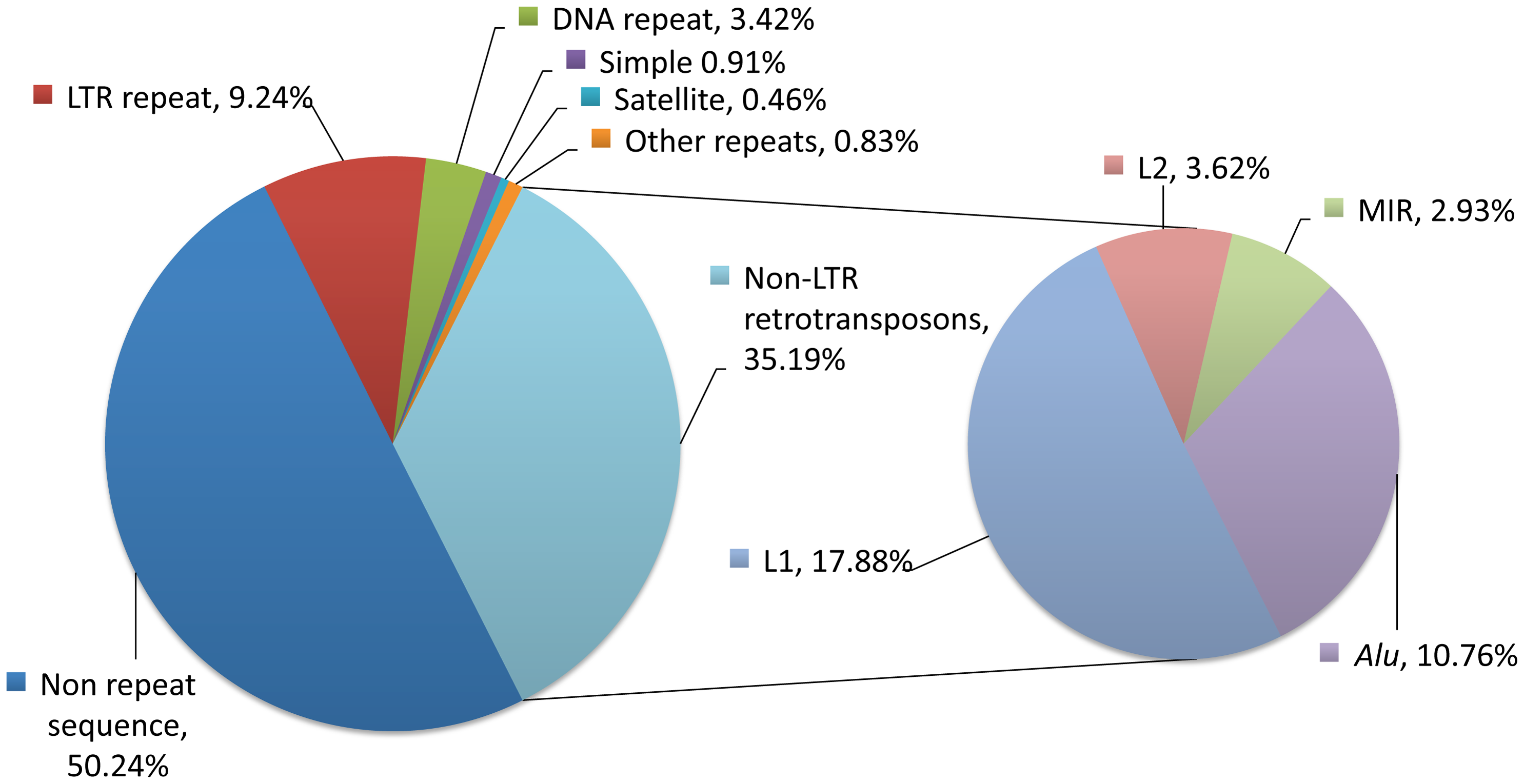 Repetitive sequences in the human genome.