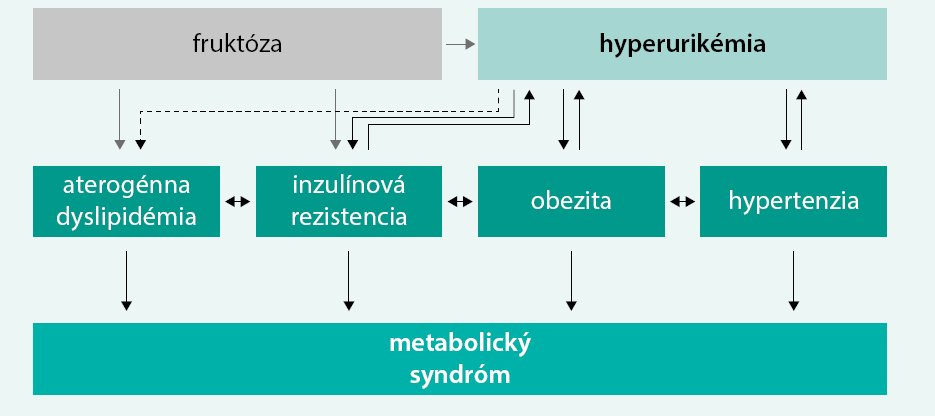 Schéma. Úloha hyperurikémie v patogenéze metabolického syndrómu