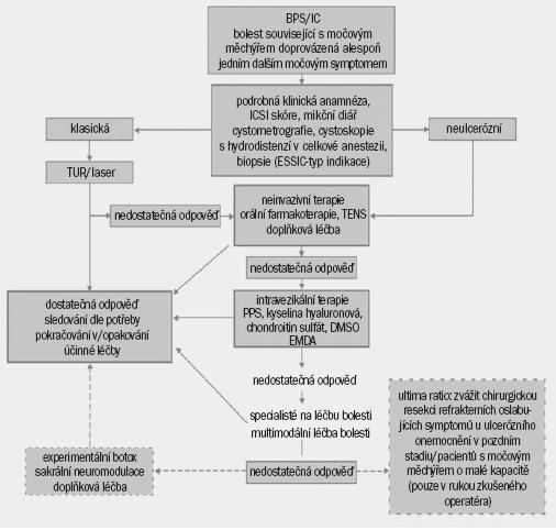 Schéma 2. Diagram znázorňující diagnostiku a léčbu syndromu bolesti v oblasti močového měchýře/intersticiální cystitidy.