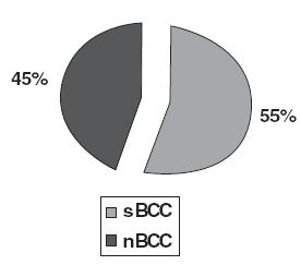 Distribuce forem bazaliomů ve studii.