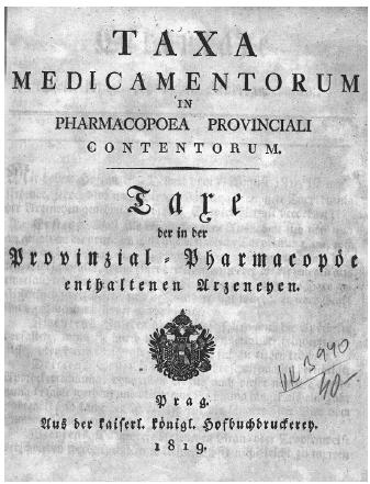Titulní stránka sazby z roku 1819