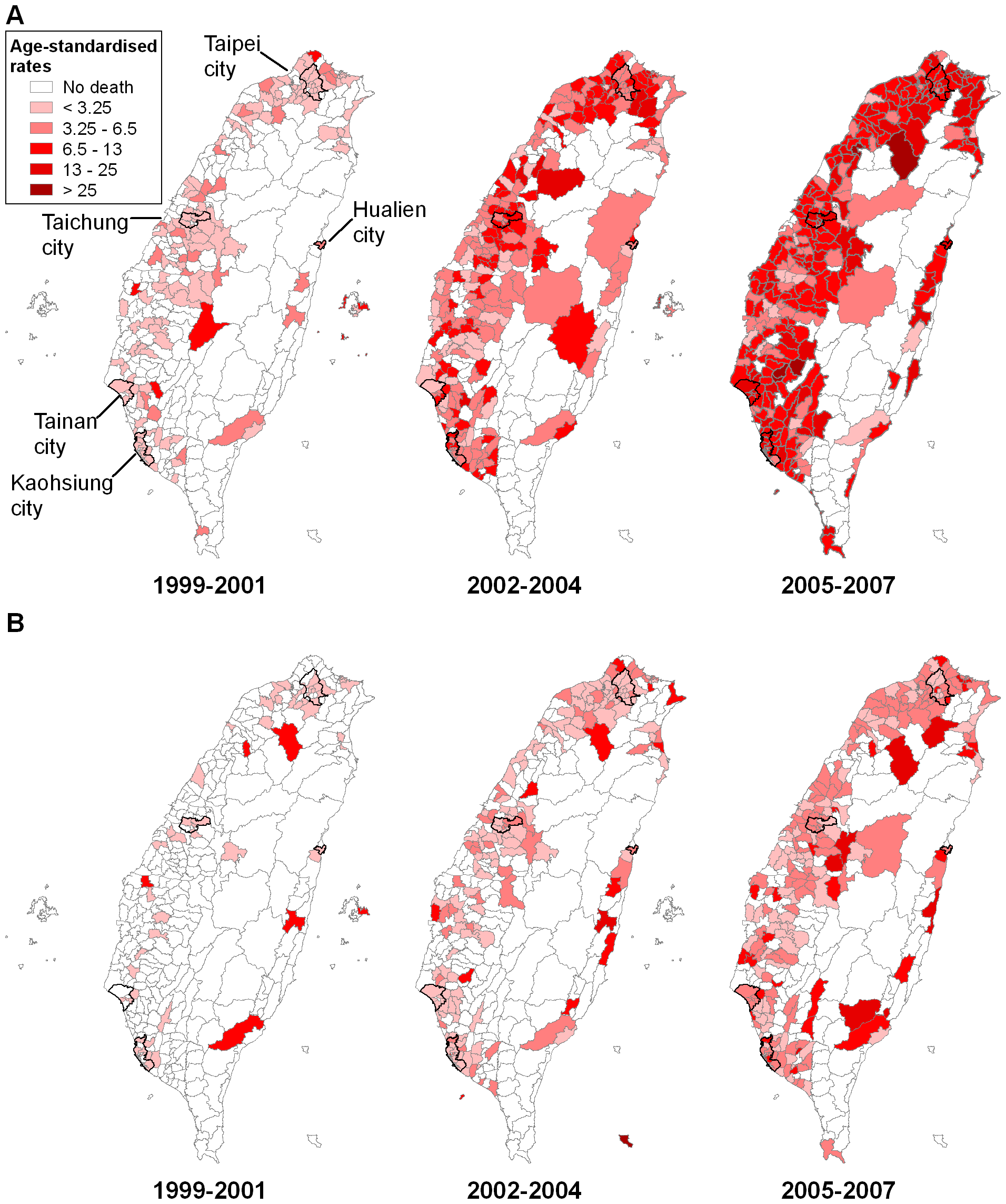 Maps of (unsmoothed) age-standardised rates of suicide (including registered suicide and undetermined death) by charcoal burning across 358 townships in Taiwan, 1999–2001, 2002–2004, and 2005–2007, with five major cities highlighted.