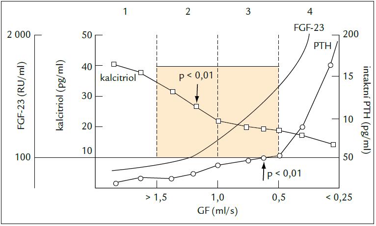 Změny sérových koncentrací kalcitriolu, FGF-23 a PTH v průběhu CHOL. Upraveno podle [66].
