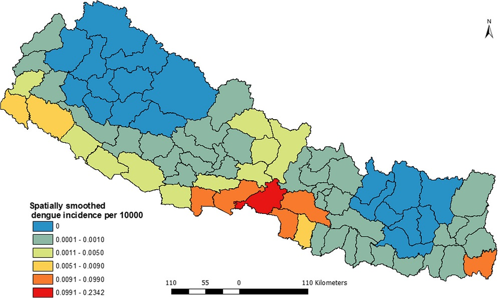 Spatially smoothed dengue incidence map of Nepal (2010–2014)
