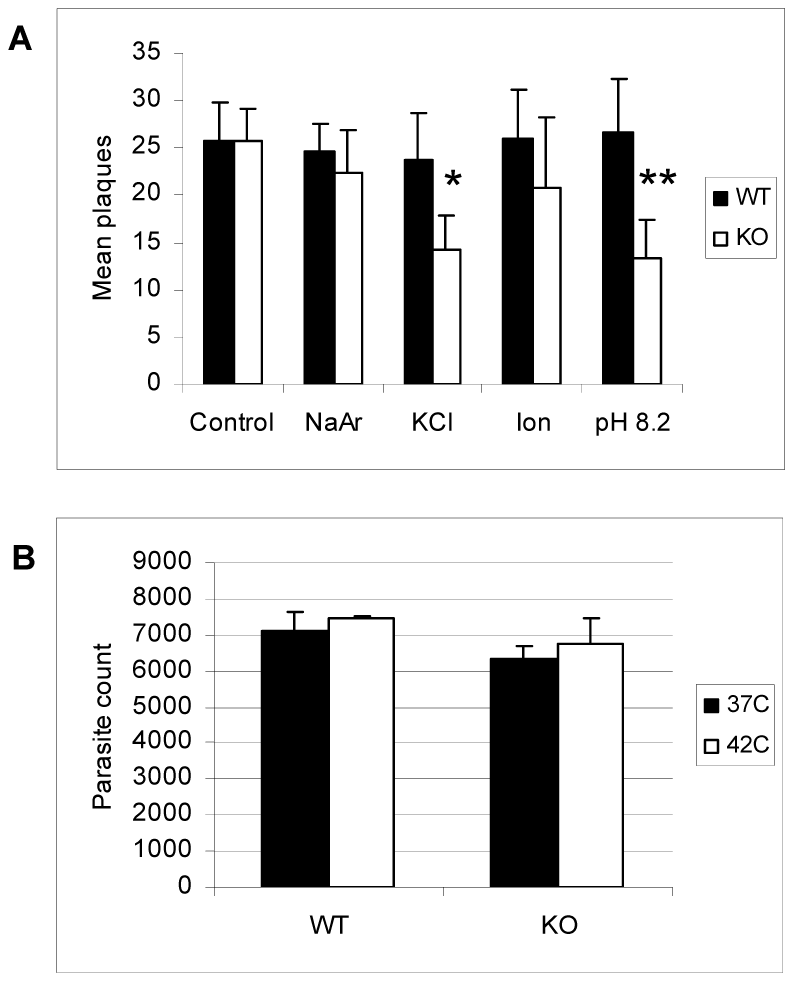 Response of ΔGCN5-A parasites to other stress conditions.