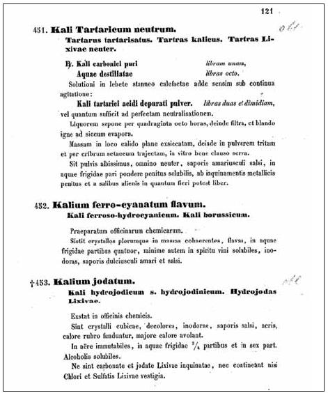 Ukázka textu pátého vydání rakouského lékopisu z roku 1855; latinské názvy draselných solí měly různá synonyma