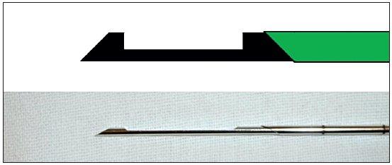 Jehla používaná k tru-cut biopsii má dvě části: vnitřní kanylu se žlábkem a vnější pouzdro.