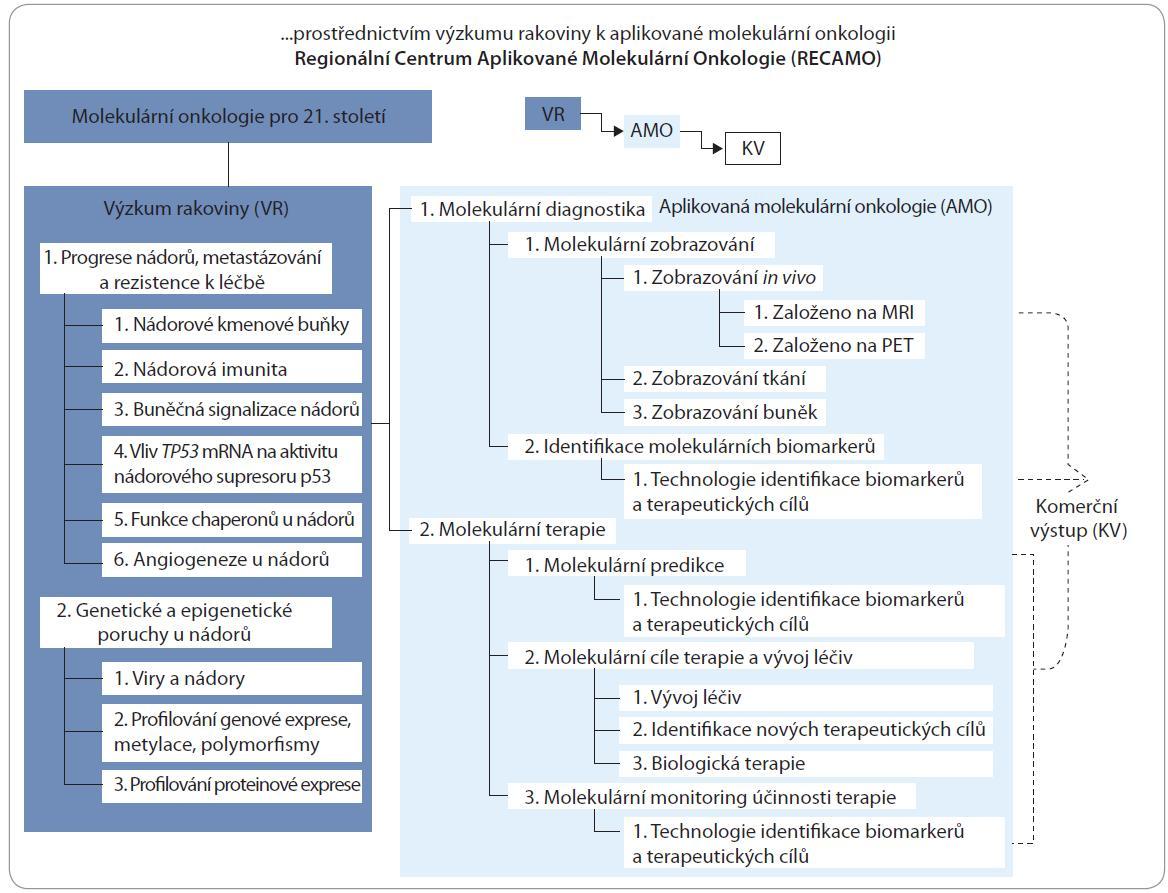 Konceptuální mapa projektu RECAMO, který je strukturován do tří ramen: rameno VR specifikuje jednotlivé výzkumné cíle, rameno AMO využívá výsledky ramena VR uvnitř RECAMO či v partnerských infrastrukturách jako např. CEITEC a  rameno KV, v němž dosažené výsledky přecházejí do komercializovatelných jednotek jako např. terapeutik nebo diagnostických kitů.
