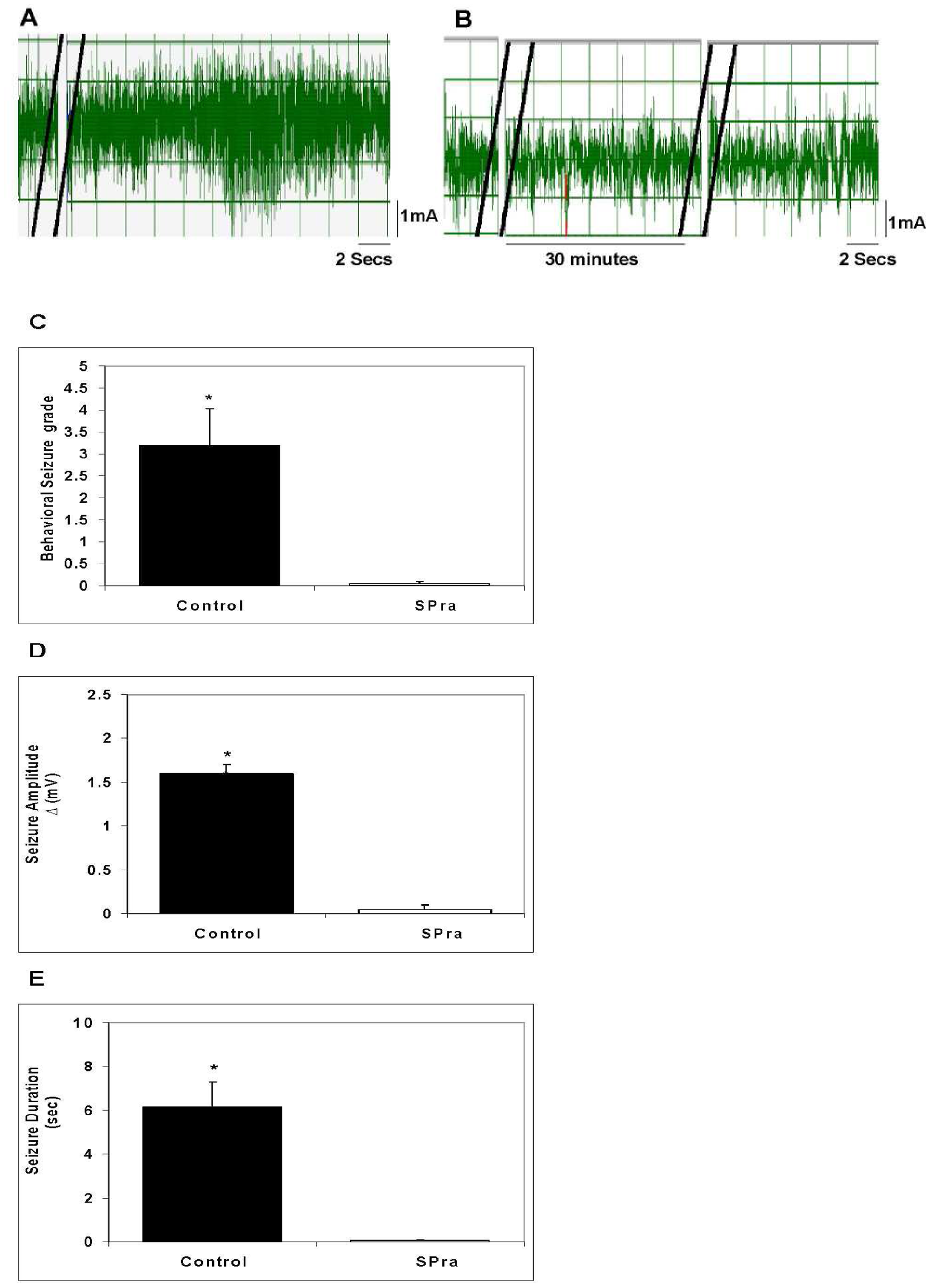 Effect of SP receptor antagonist (SPra) pre-treatment on granuloma extract-induced seizure activity in rats.