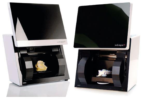 """Laboratorní skenery D900 a D700 (3Shape, Dánsko) pro nepřímou digitalizaci sádrových modelů a zubních otisků (převzato z: <a href=""""https://www.3shape.com/"""">www.3shape.com</a>)"""