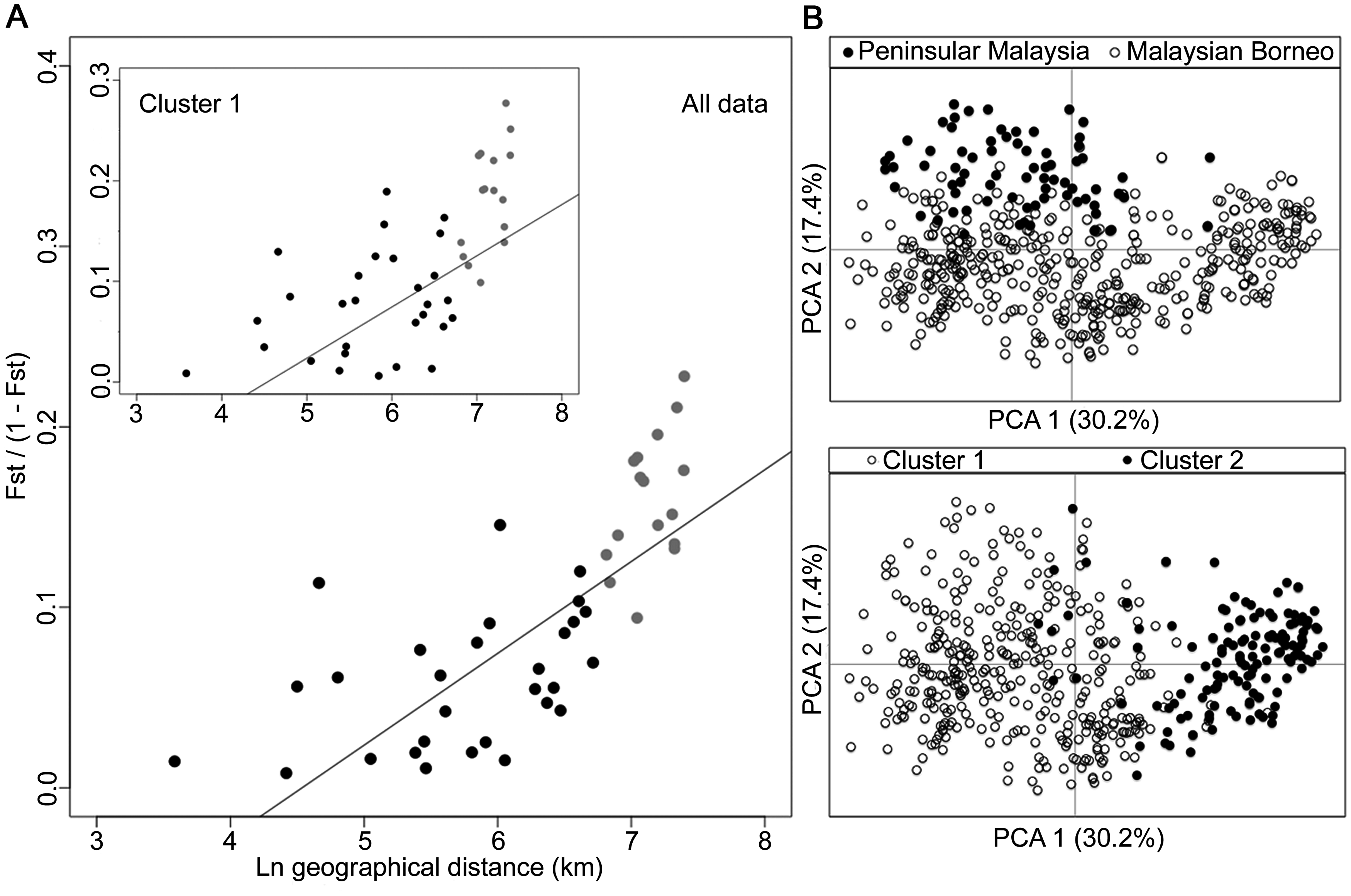 Isolation-by-distance model and principal component analysis (PCA) of the human <i>P</i>. <i>knowlesi</i> isolates.