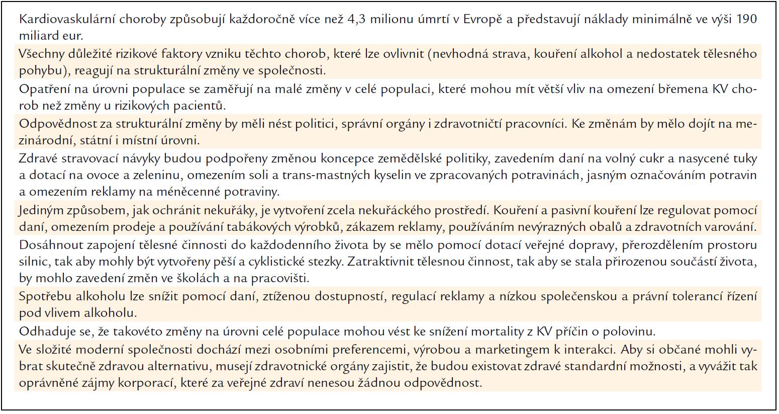Změny zaměřené na prevenci vzniku KV chorob na úrovni populace: hlavní závěry a doporučení.