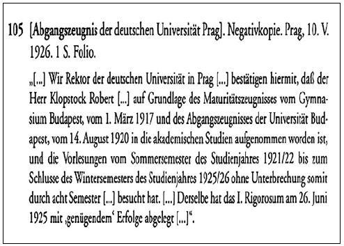 Potvrdenie o odchode Roberta Klopstocka z Nemeckej univerzity v Prahe dňa 10. mája 1926.