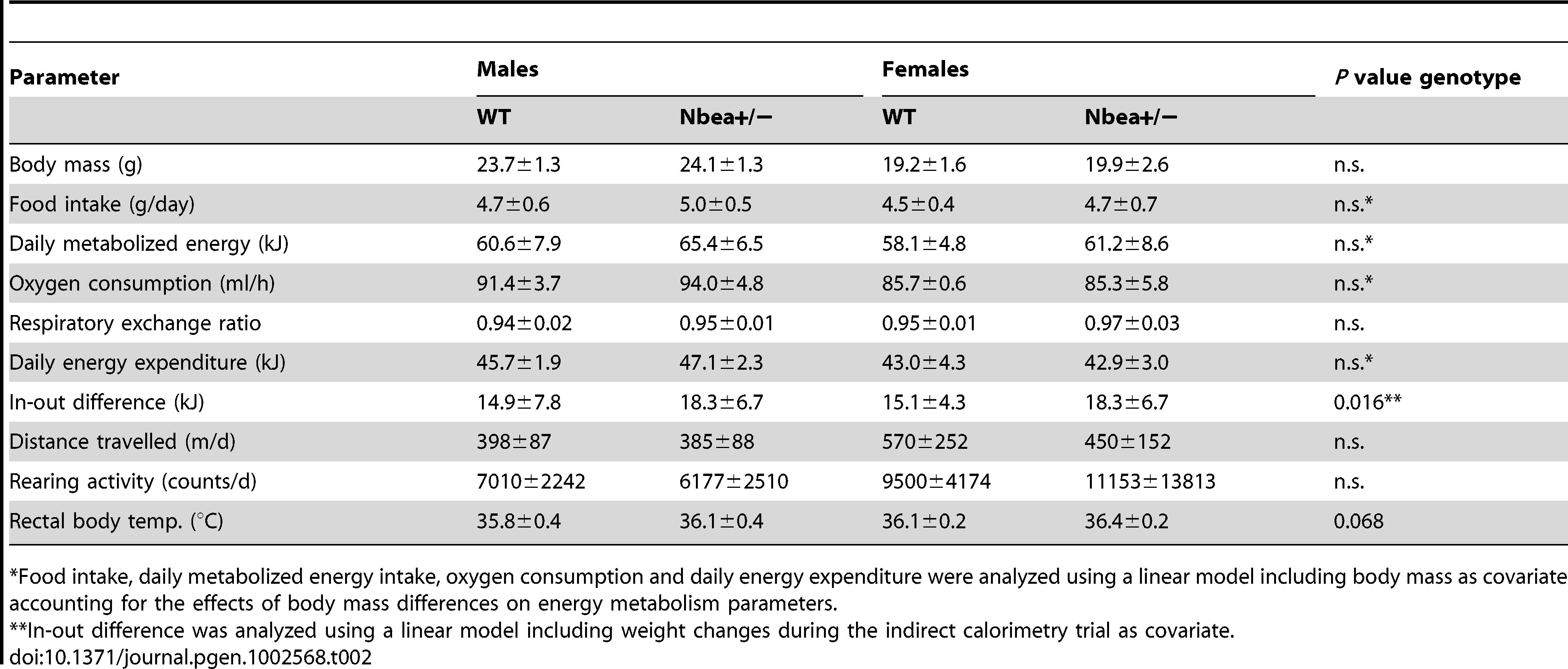 Energy balance and motor activity of 8 week-old WT and <i>Nbea</i>+/− mice, fed with standard chow <i>ad libitum</i> over 24 h (n = 8/group; mean±SD).