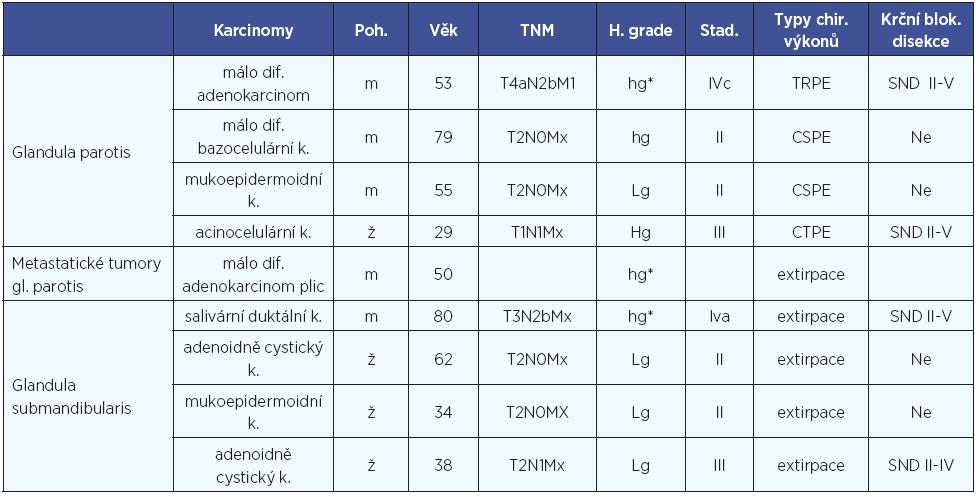 Pacienti s karcinomem slinné žlázy a klinickopatologické údaje.