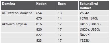 Přehled sekundárních mutací v exonech 13, 14 a 17 genu KIT.
