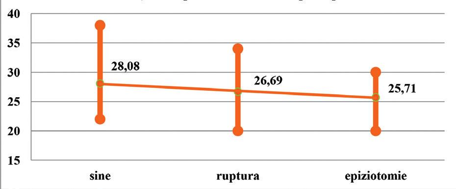 Průměrná, minimální a maximální dosažená dilatace (v cm) ve skupině VDB, rozděleno podle poranění
