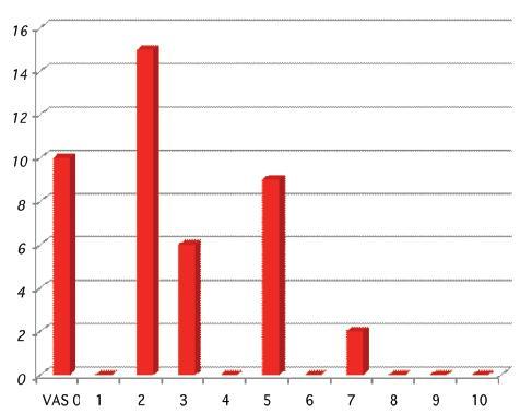 Stupeň bolesti podle VAS skórování – den operace Graph 2. Rate of the pain based on the VAS scoring at the day of surgery
