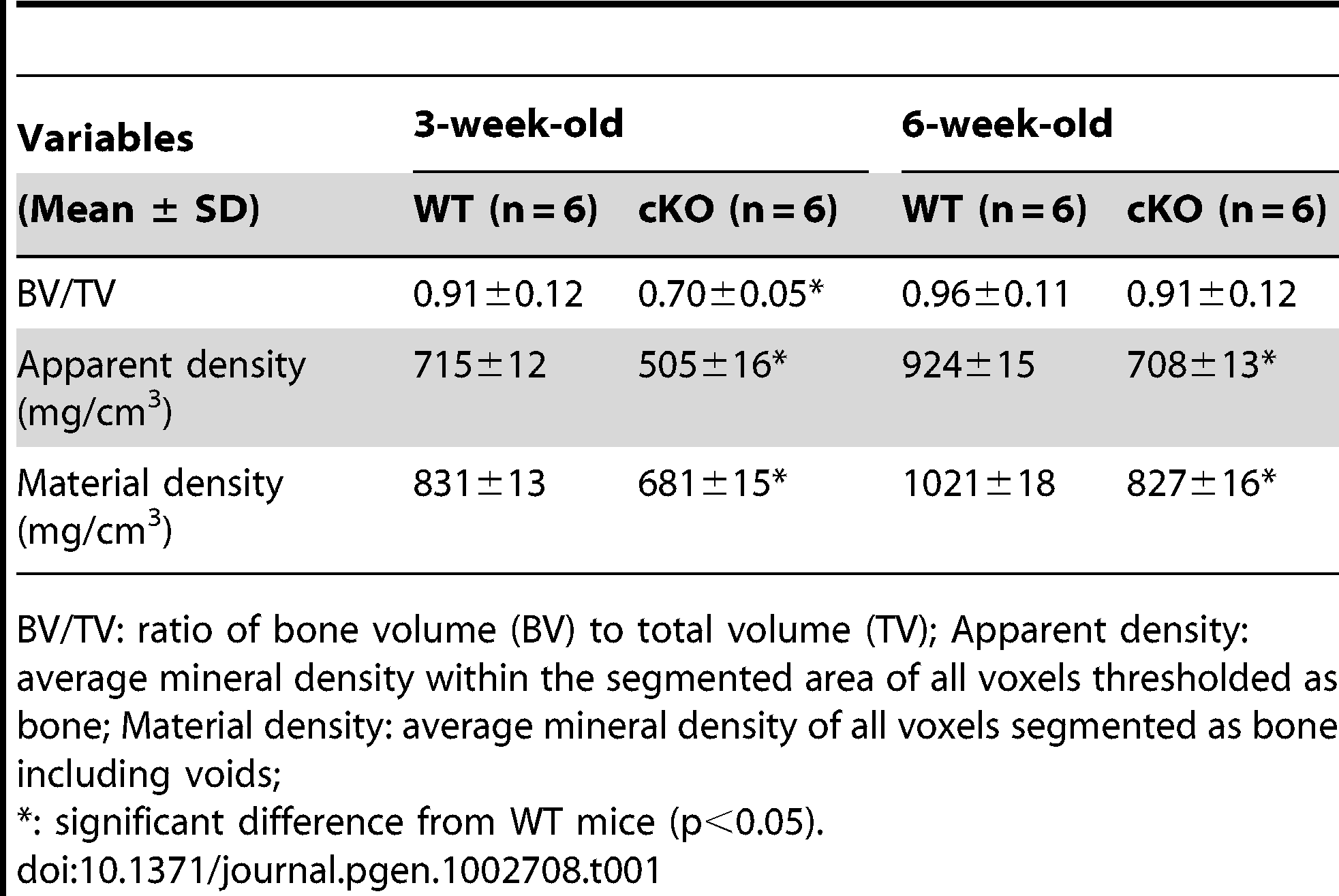 Quantitative μ-CT analyses of the cortical bone (the midshaft region) of the tibias from 3-week-old and 6-week-old WT and <i>Fam20c</i>-cKO mice.