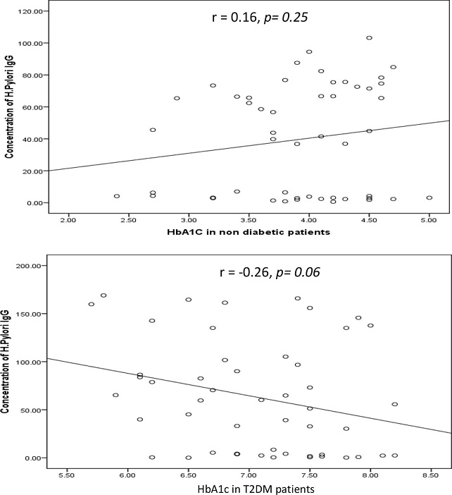 Correlation between HbA1c in non-diabetic and diabetic patients measured by ELISA (expressed in %) and concentration of <i>H. pylori</i> IgG (expressed in U). The levels of <i>H. pylori</i> IgG (y <i>axis</i>) were correlated with those of % HbA1c (x <i>axis</i>). No association was observed in two groups. Based on the simple linear regression of cases with HbA1c (n = 50 for each group)