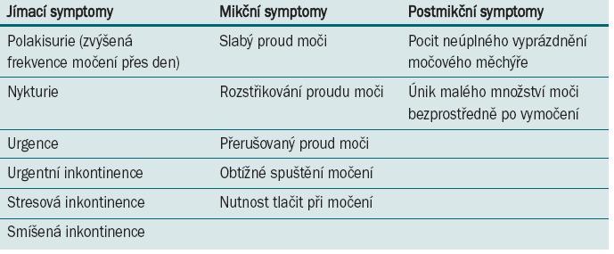 Symptomy dolních močových cest dle definice ICS [1].