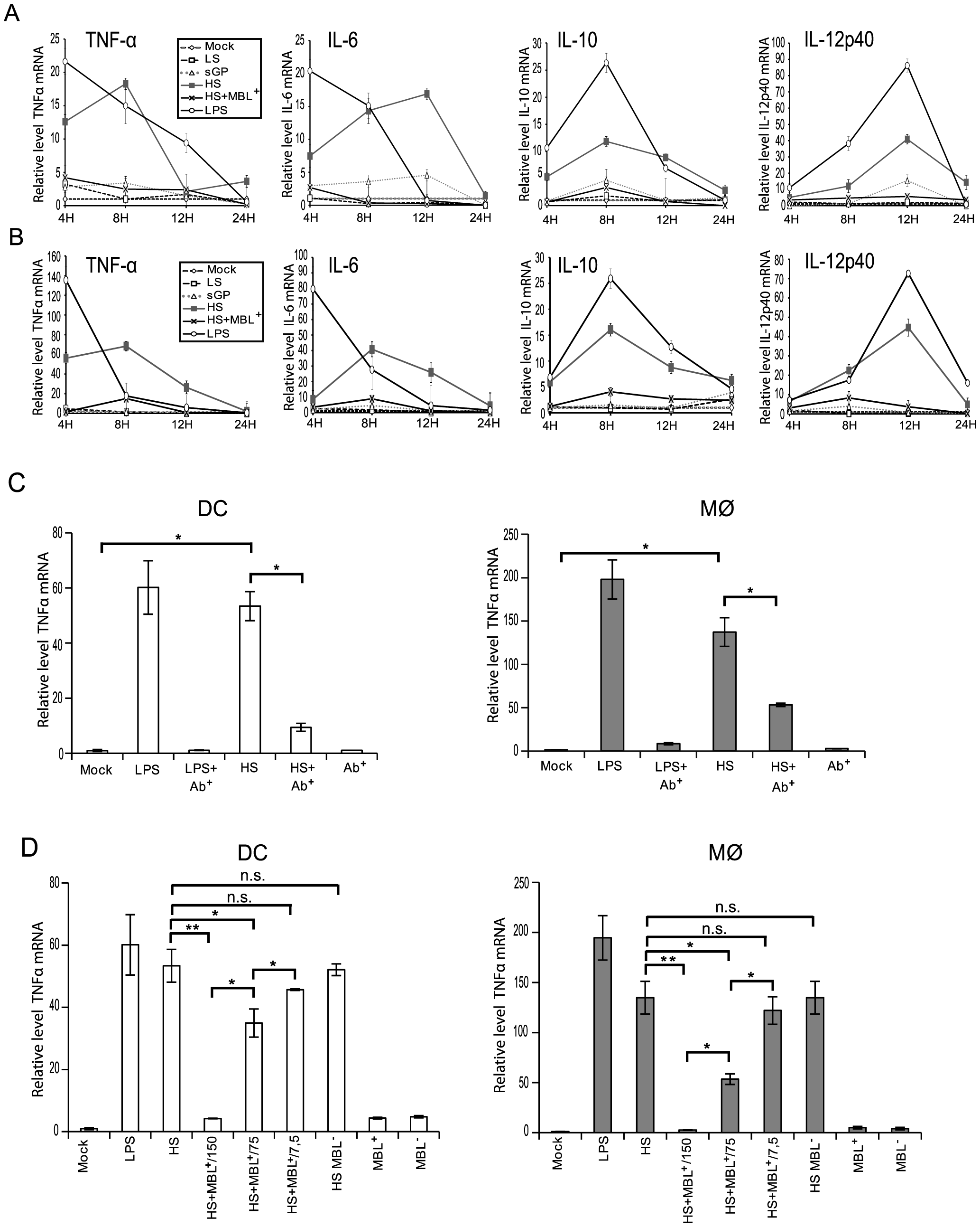 Shed GP induces transcriptional activation of cytokines in DCs and MØ.