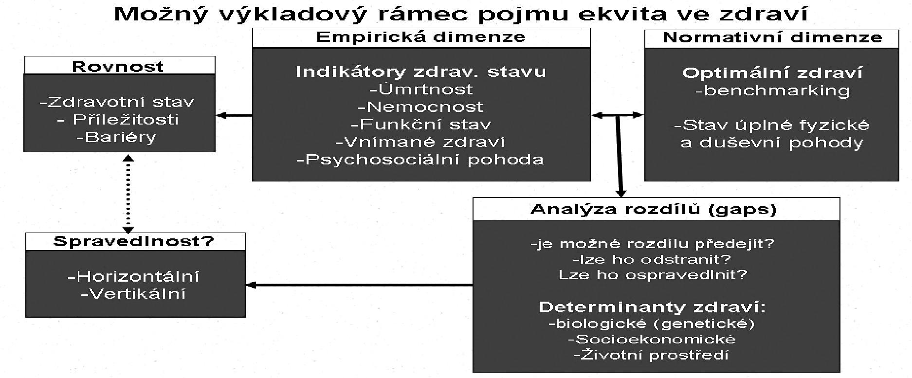 Schéma 1. Konceptuální rámec ekvity ve zdraví