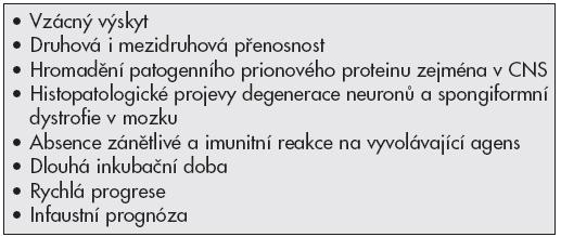 Typické znaky prionových onemocnění