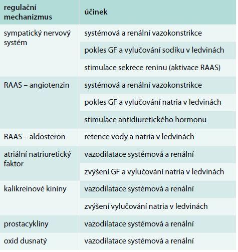 Hlavní regulační mechanizmy v patofyziologii HRS