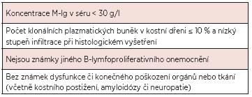 Nová diagnostická kritéria MGUS dle IMWG, 2003 (8).