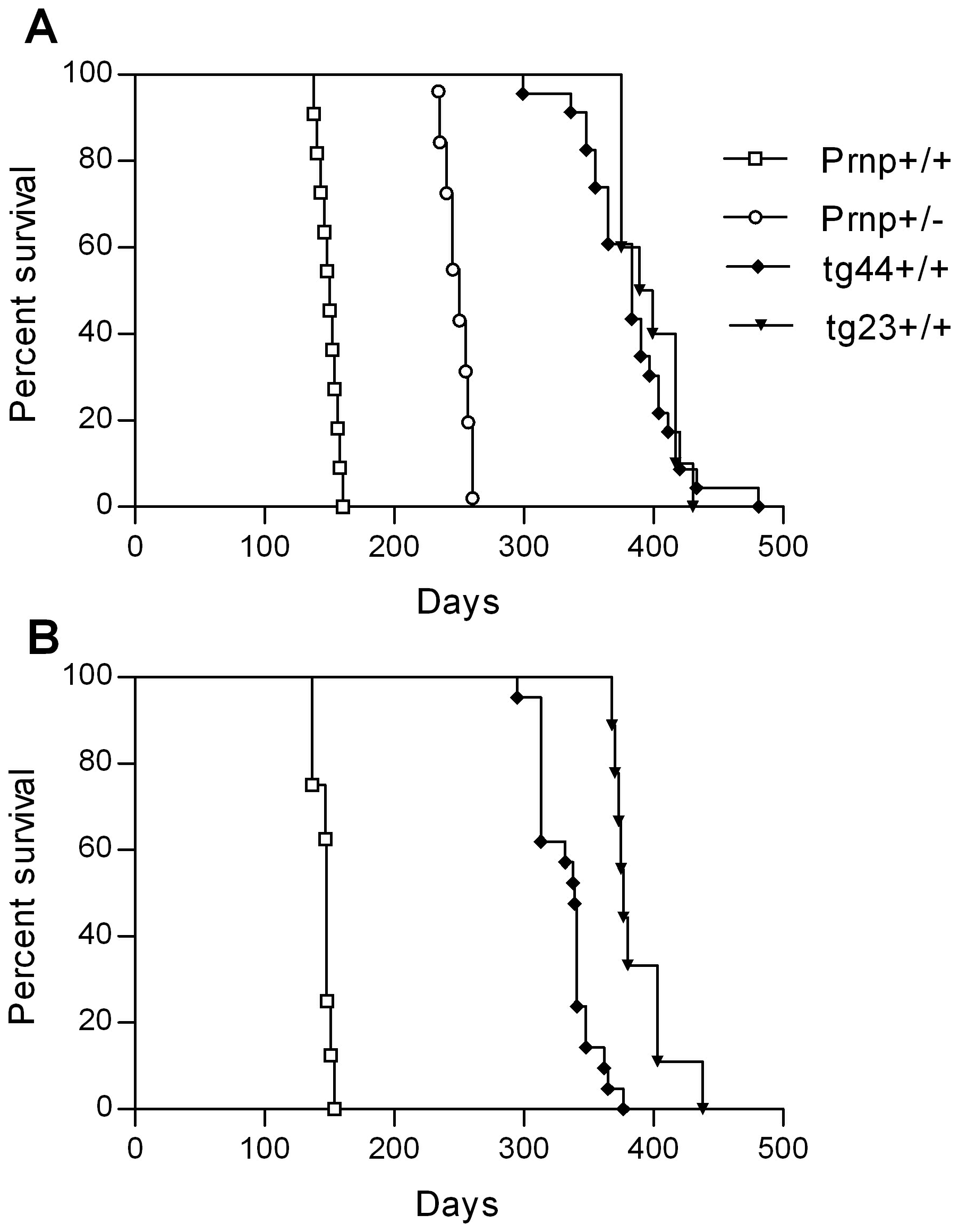 Survival curves for scrapie-infected mice.