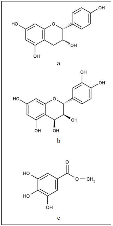 Strukturní vzorce obsahových látek z extraktů rodu Bergenia: a – α-afzelechin, b – leucocyanidin, c – methyl gallát<sup>18, 60, 61)<sup/>