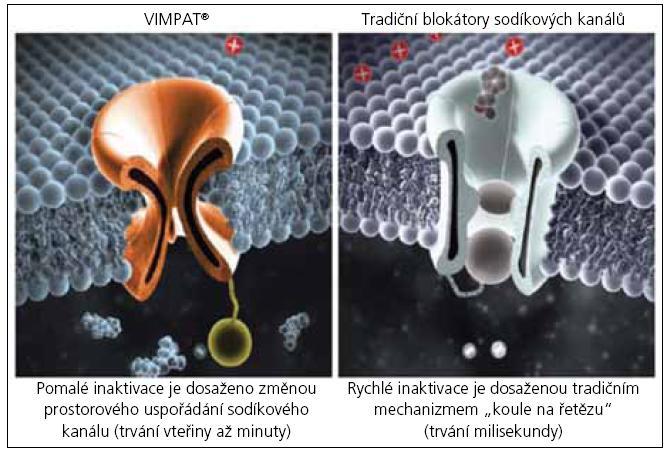 Nový mechanizmus účinku lacosamidu ve srovnání s tradičními blokátory Na+ kanálů (PHT, CBZ, LTG).