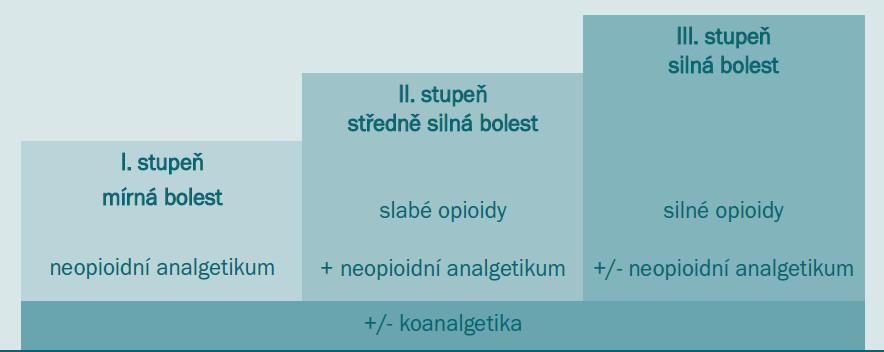 Analgetický žebříček WHO (podle Metodických pokynů pro léčbu farmakoterapie nádorové bolesti 2004).