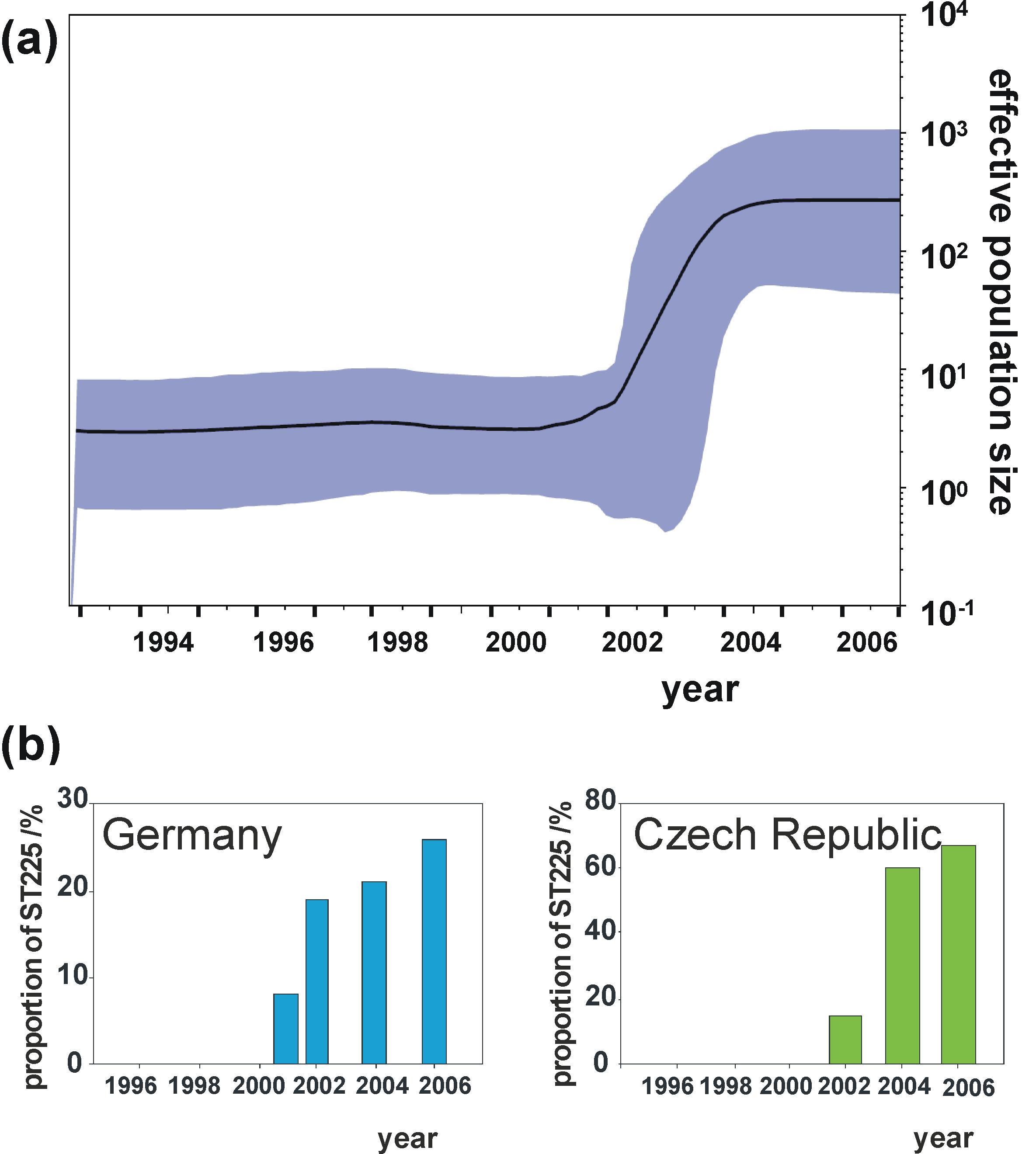 Effective population size through time in comparison to surveillance data.