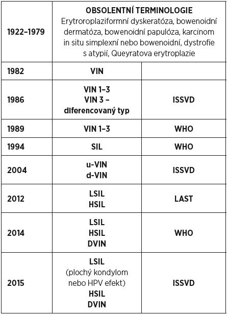 Vývoj terminologie vulvárních intraepiteliálních lézí