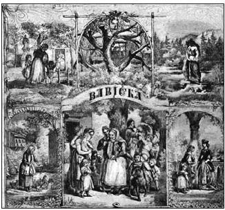 A. Gareis. Motivy z Babičky. (Xylografie z roku 1866)